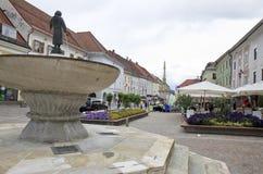 关键喷泉在格兰河畔圣法伊特,奥地利 库存图片