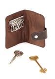 关键字的布朗钱包与二个关键字。 免版税库存照片