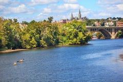 关键桥梁乔治城大学华盛顿特区 库存照片