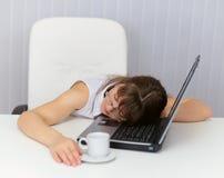 关键董事会疲倦的膝上型计算机休眠&# 库存图片