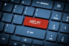 关键董事会膝上型计算机 在帮助键的焦点 免版税图库摄影