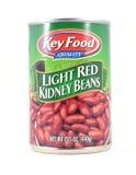 关键食品卫生浅红色的扁豆锡罐  图库摄影