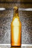 关闭一个唯一瓶与水泡影的工艺啤酒在被弄脏的背景的天空中 免版税图库摄影