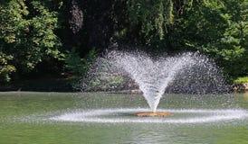 关闭一个喷泉在一个湖在一个公园 图库摄影
