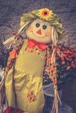 关闭一个女孩庭院稻草人的图象在显示的为万圣夜 库存照片