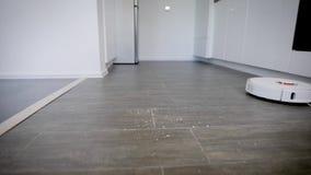 关闭一个机器人吸尘器清洁厨房木条地板的射击从面包屑和尘土的 股票视频