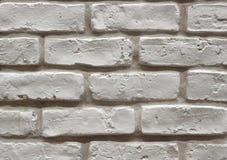 关闭一个老困厄的白色砖墙,使用为内部 图库摄影