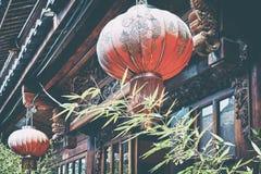 关闭一个老红色中国灯笼 免版税图库摄影