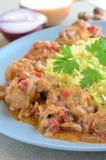 热的咖喱鸡用米和荷兰芹 库存照片