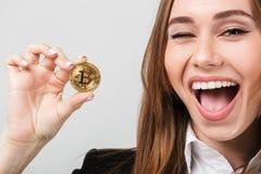 关闭一名快乐的女实业家的画象 免版税库存照片