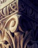关闭一复杂雕刻的细节在柱子 免版税图库摄影