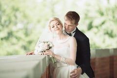 关闭一对好的年轻婚礼夫妇 免版税库存照片