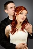 关闭一对好的年轻婚礼夫妇 库存图片
