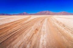 关闭一条波纹状的路在Altiplano 库存照片