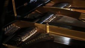 关闭一架大平台钢琴的内在工作的射击 影视素材