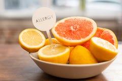 关闭一点碗用有的葡萄柚和的柠檬变态反应原 免版税库存照片