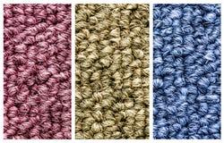 关闭三种颜色地毯纹理 免版税图库摄影