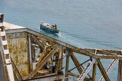 关闭上升Pamban桥梁连接Rameswaram镇班本岛的到大陆印度的一座铁路桥 打开  库存图片