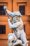 关闭上帝海王星雕象画象  海王星喷泉在Navona广场/Piazza Navona/的北边在罗马,意大利 图库摄影