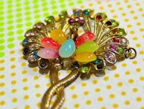 关闭与孔雀设计的一件小金色被刻记的头发装饰品和在一个短上衣被加点的床单顶部的错误珠宝 免版税库存照片