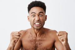 关闭与看与疯狂的表示的卷发的滑稽的可爱的深色皮肤的非洲男性电视,欢呼为他的 免版税库存照片