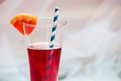 关闭与秸杆的红色凉快的刷新的夏天饮料 免版税库存图片