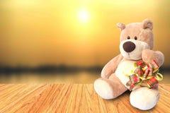 关闭与箱子的玩具熊在天空sunight背景 库存照片