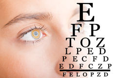 关闭与视力检查表的妇女面孔 免版税库存照片