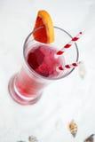 关闭与长的秸杆的红色凉快的刷新的夏天饮料 库存照片