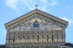 关闭中世纪大教堂在阿马飞,意大利 免版税库存照片