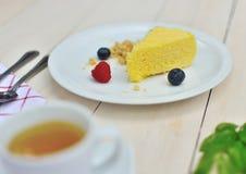 关闭乳酪蛋糕射击与另一种成份的 图库摄影