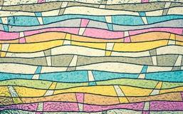关闭五颜六色的彩色玻璃,抽象葡萄酒背景 库存图片