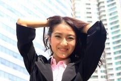 关闭亚洲青年女商人看起来精采a画象  免版税库存图片