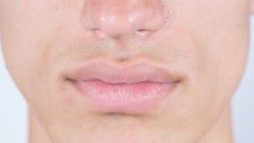 关闭人的面孔嘴唇 免版税库存图片