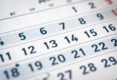 关闭企业日历十一,十二,十三翻译:月份的12月 免版税库存照片