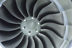 关闭企业飞机喷气发动机进气道爱好者的图象 免版税库存照片