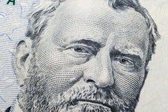 关闭伊利亚斯S看法画象  这一五十美金的格兰特 金钱的背景 50与伊利亚斯S的美金 g 免版税库存照片