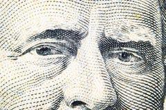 关闭伊利亚斯S看法画象  这一五十美金的格兰特 金钱的背景 50与伊利亚斯S的美金 g 免版税库存图片