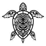 关闭传染媒介乌龟玻利尼西亚人纹身花刺 皇族释放例证