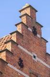 关闭传统砖砌布鲁日 免版税图库摄影