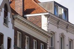 关闭传统砖砌建筑学布鲁日,比利时 免版税库存照片
