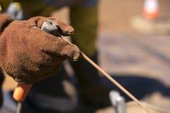 关闭佩带与棍子焊条的焊工的图片红色焊接安全手套保护 库存照片