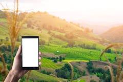 关闭使用有空白的机动性的巧妙的电话和杯子的一个人 图库摄影
