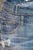 关闭使用的牛仔裤 图库摄影
