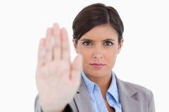 关闭信号化终止的女性企业家 库存图片
