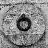 关闭停放的骡子的中世纪钢圆环在Wal附近 免版税图库摄影