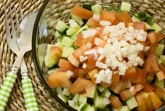 关闭健康简单的沙拉用在上面的被切的葱 免版税库存图片
