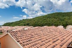 关闭全新的红色屋顶反对蓝色多云天空和绿色森林 图库摄影
