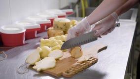 关闭切在切板的奶酪制造工厂劳工的射击乳酪 影视素材
