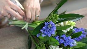 关闭卖花人迅速栓与白色麻线的白色和蓝色风信花花花束 skimmia装饰的构成 股票视频